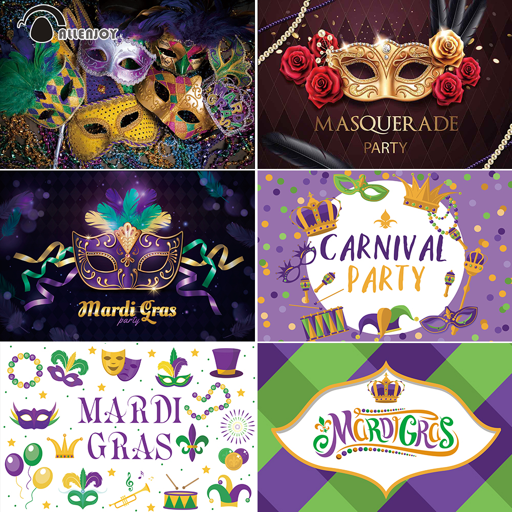 Allenjoy Mardi Gras Party Curtain Wallpaper Masquerade Photo Shoot Banner Carnival Mask Pearl Crown Decor Photography Background