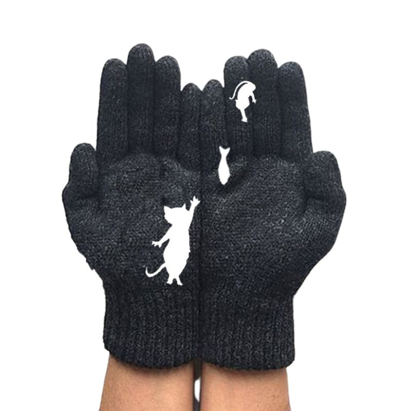Women Winter Thick Warm Knit Gloves Cartoon Cat Fish Irregular Patchwork Mittens LX9E