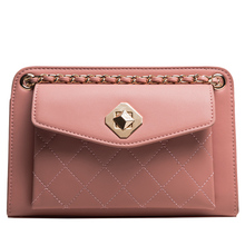 Tide Simple Casual Fashion PU Chain Shoulder Messenger Bag Brand for Women 2018 New Large Capacity Diamond Polyester
