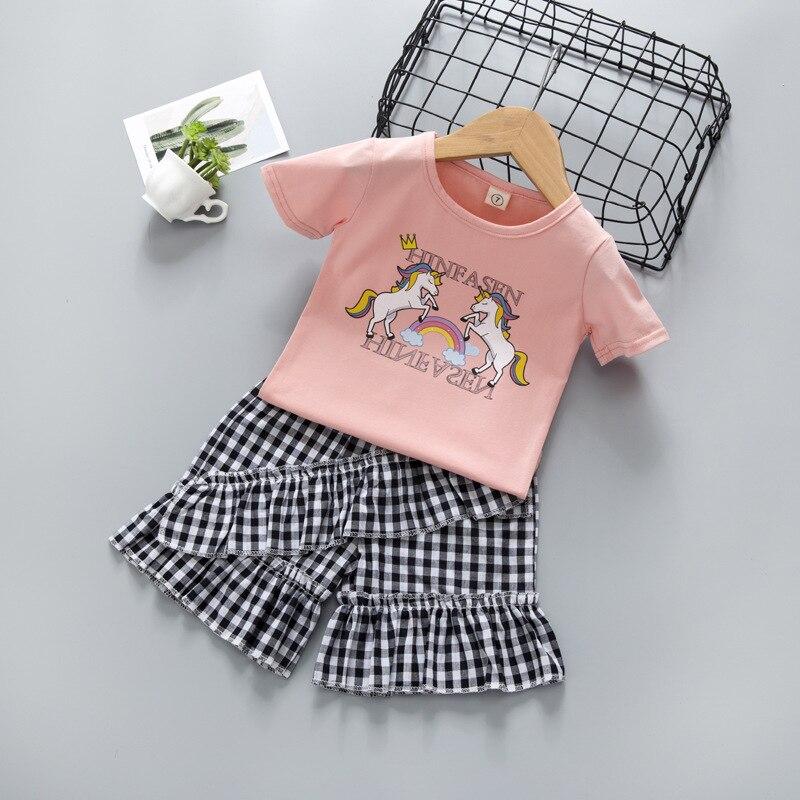 Novo verão para meninas conjunto dos desenhos animados manga curta camiseta shorts 2 peças roupas dos miúdos roupas da criança menina roupas de outono 2020 princesa