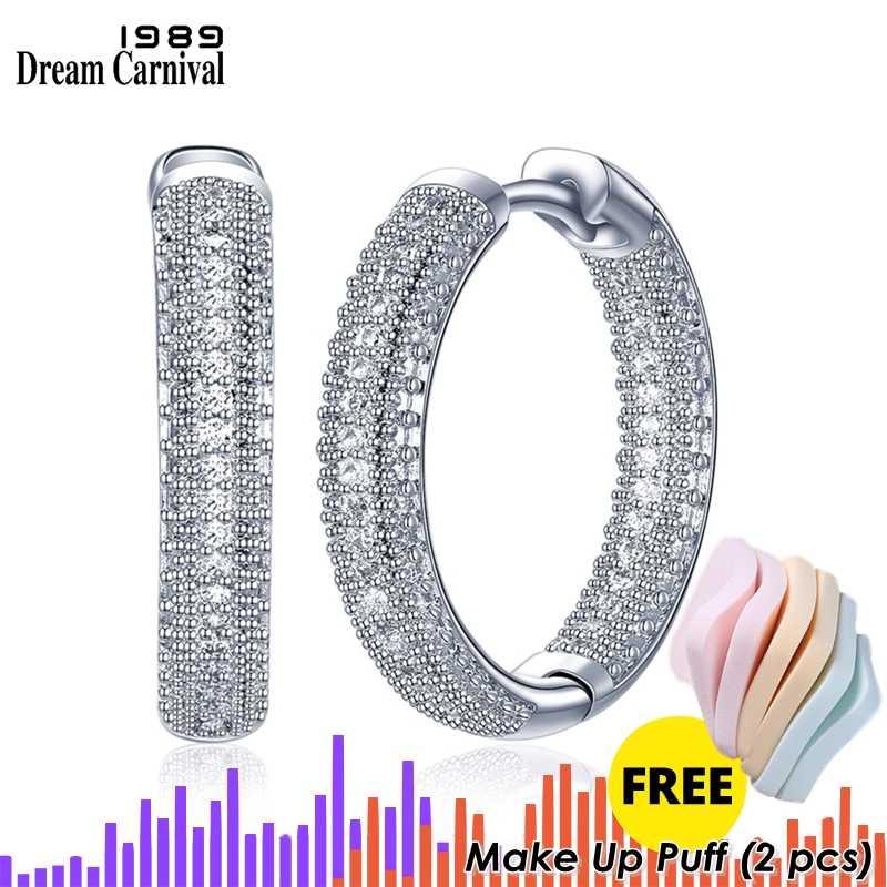 DreamCarnival 1989 สินค้าใหม่ Amazing ราคา Luxury Hoop ต่างหูผู้หญิง Sparkling White Cubic Zirconia Femme Aretes SE24112