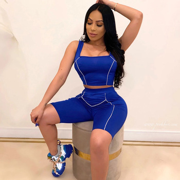 Sport Casual Two Piece Set Women Sleeveless Backless Crop Top And Sports Shorts Summer Joggers 2