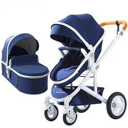 Carrinho de bebê de luxo ajustável 3 em 1 portátil alta paisagem reversível carrinho de criança quente mãe rosa carrinho viagem carrinho carrinho