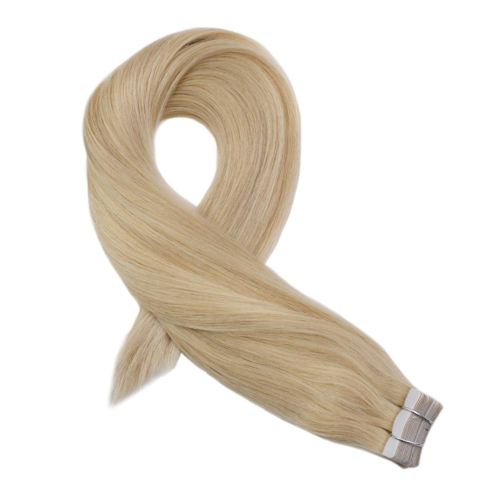 Moresoo Tape In Hair Extensions 100% Real Remy Human Hair Seamless Tape In Full Head Hair Extensions Blond #24 2.5g/Pcs