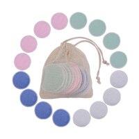 2/1 Uds reutilizable de fibra de bambú de removedor de maquillaje de almohadillas lavable rondas limpieza algodón Facial herramienta de cuidado de la piel limpieza de la piel