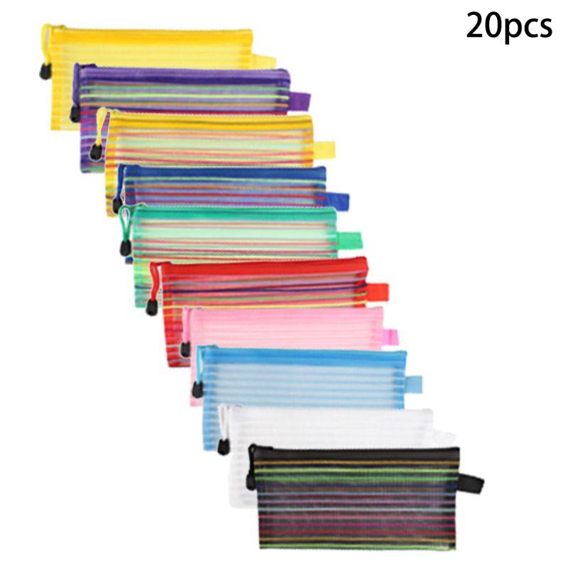 Waterproof Plastic Grid Zipper Paper File Folder Mesh Document Bag Storage Pouc D08B