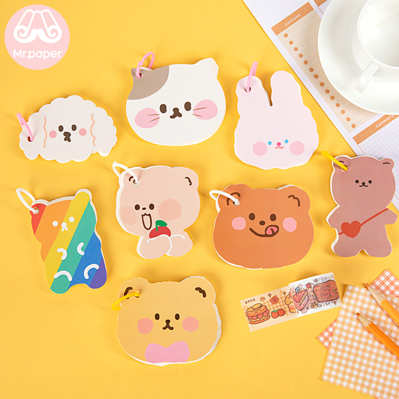 Mr Paper 8 Designs 80 Pages Wordbook Colored Ring Buckle Kawaii Stationery Notes Portable Notepad School Office Supply Papeleria