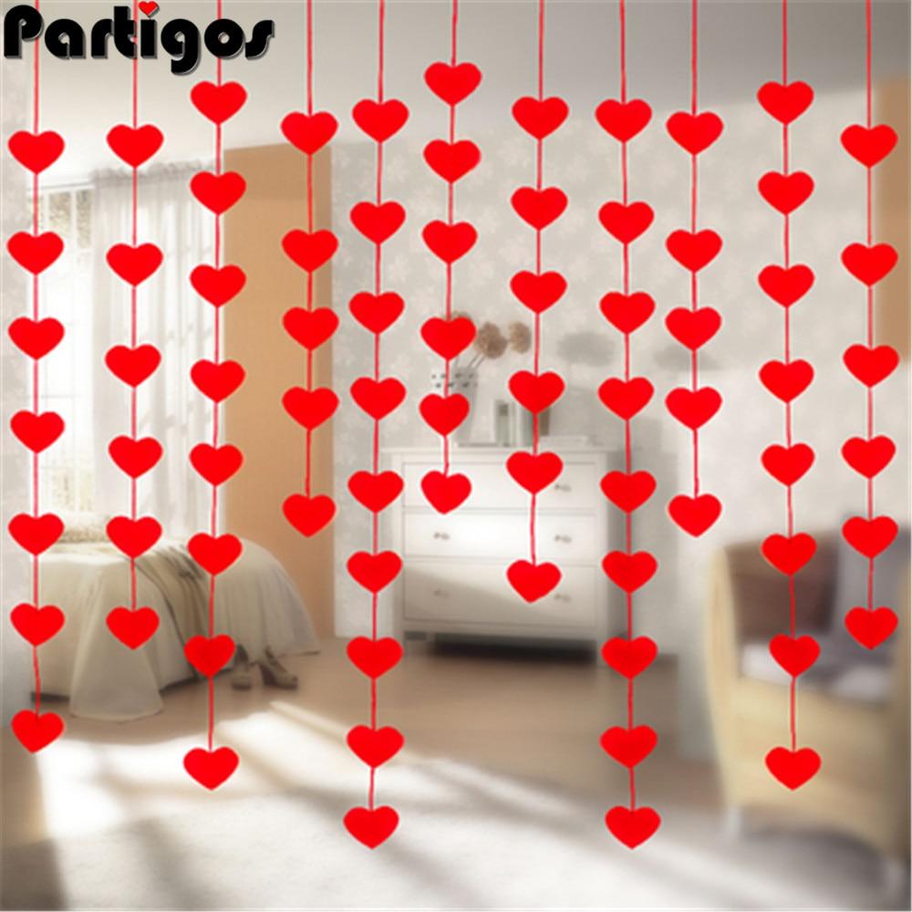 Guirnalda de 16 corazones rojos para el Día de San Valentín, guirnalda de cuerdas colgante, decoraciones para fiesta de cumpleaños, diseño de habitación de amor