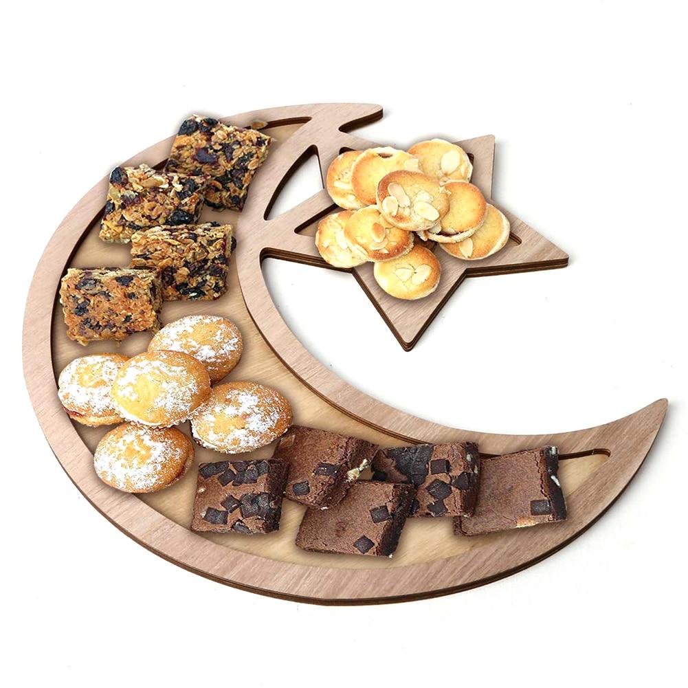 Ramadan Eid Rustic Crescent Moon Star Wooden Party Food Serving Tableware Dessert Pastry Tray Display Holder Festival Decor