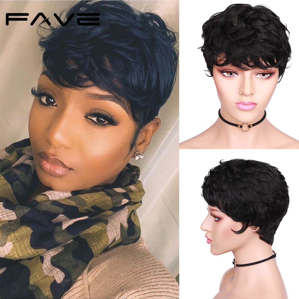 FAVE Short Pixie Cut Human Hair Curly Wigs For Women Natural Black Remy Hair Natural Look High Density Glueless Cheap Human Wigs
