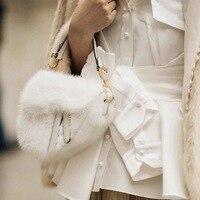 2019 New Stylish Autumn And Winter Bag Women Cute White Wool Handbag Ladies Fashion Saddle Totes Bag Luxury Handbags Women Bags