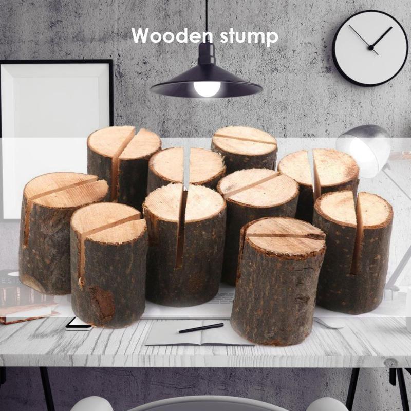 10pcs Creative Wooden Photo Clip Memo Name Card Mini Clip Holder Desktop Wedding Party Decoration Stand Office Supplies