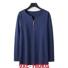 Herbst Chinesischen stil t shirt langarm Männer plus größe vintage Tang anzug tees oversize leinen baumwolle 8XL 9XL hause lose unterwäsche