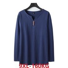 autumn Chinese style T shirt long sleeve Men plus size vintage Tang suit tees oversize linen cotton 8XL 9XL home loose underwear