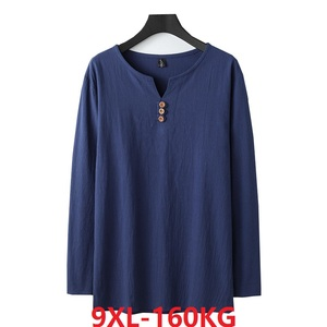 Image 1 - autumn Chinese style T shirt long sleeve Men plus size vintage Tang suit tees oversize linen cotton 8XL 9XL home loose underwear