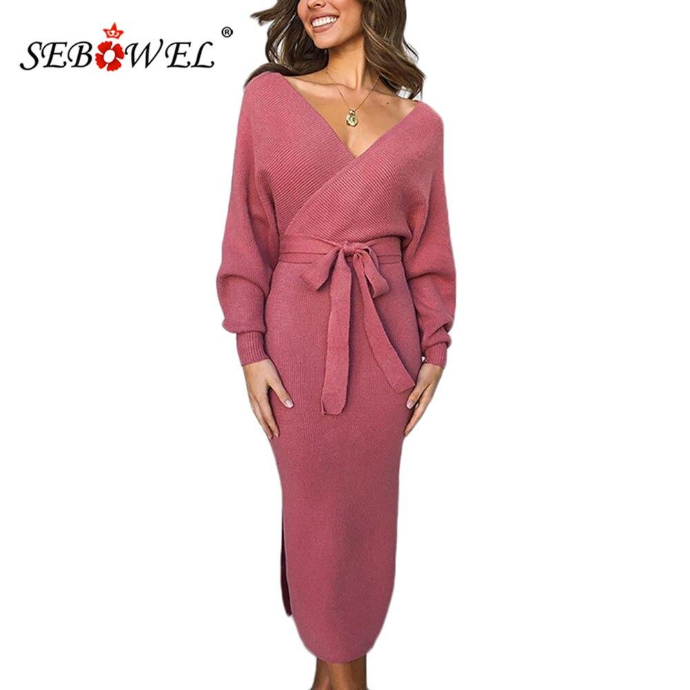 SEBOWEL 2019 Woman Autumn V Neck Bodycon Knitted Dress With Sashes Long Sleeve Winter Female Lady Elegant Wrap Midi Dresses S-XL