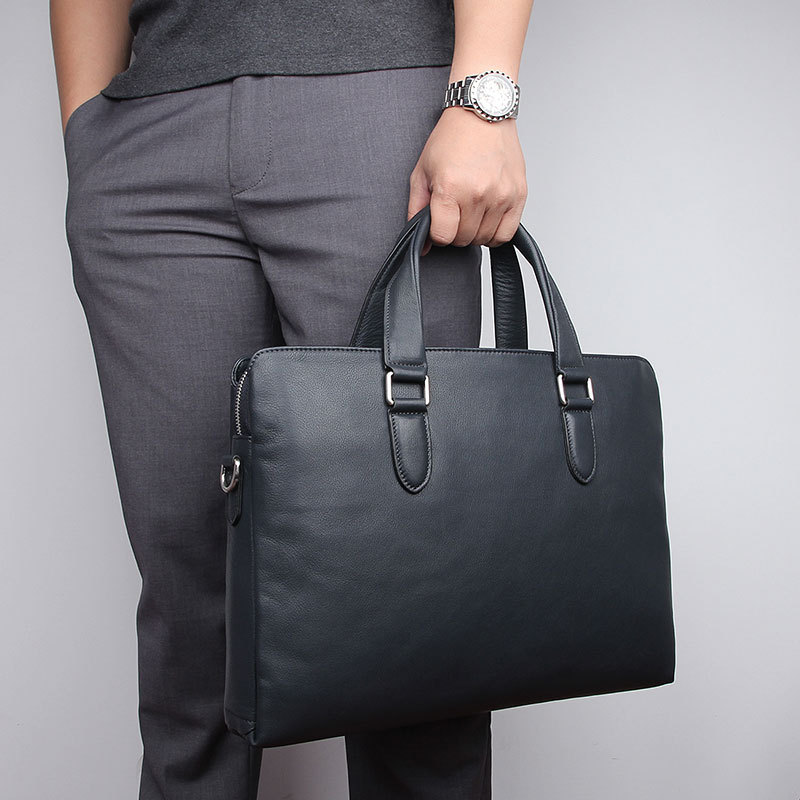 Nesitu New Black Chocolate Blue Genuine Leather 14'' Laptop Office Men's Briefcase Business Messenger Bags A4 Portfolio M7410