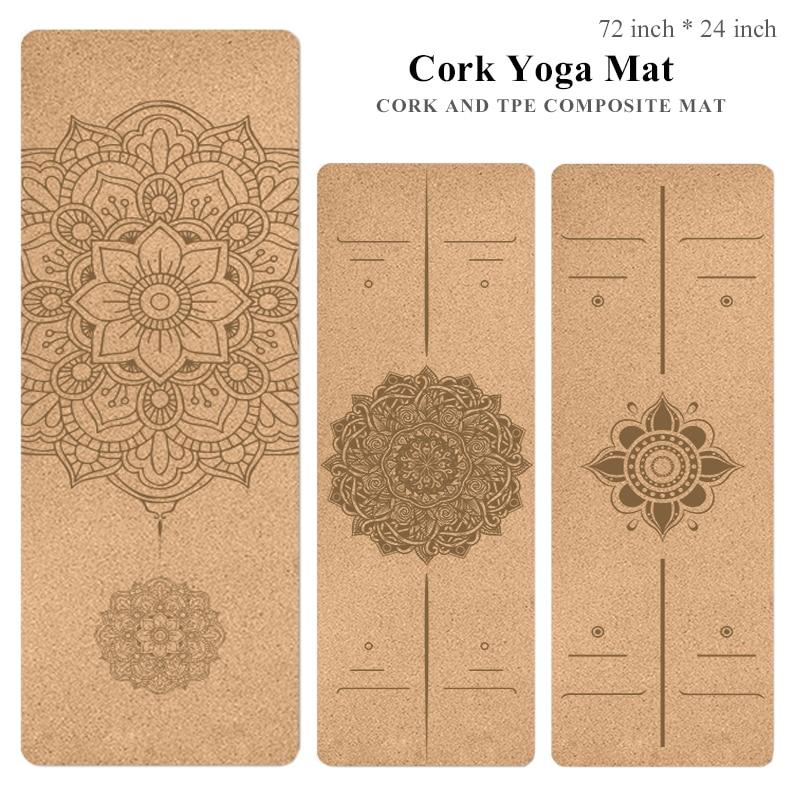 Natural Cork And TPE Yoga Mat Non Slip Floor Pilates Exercise Workout Mandala