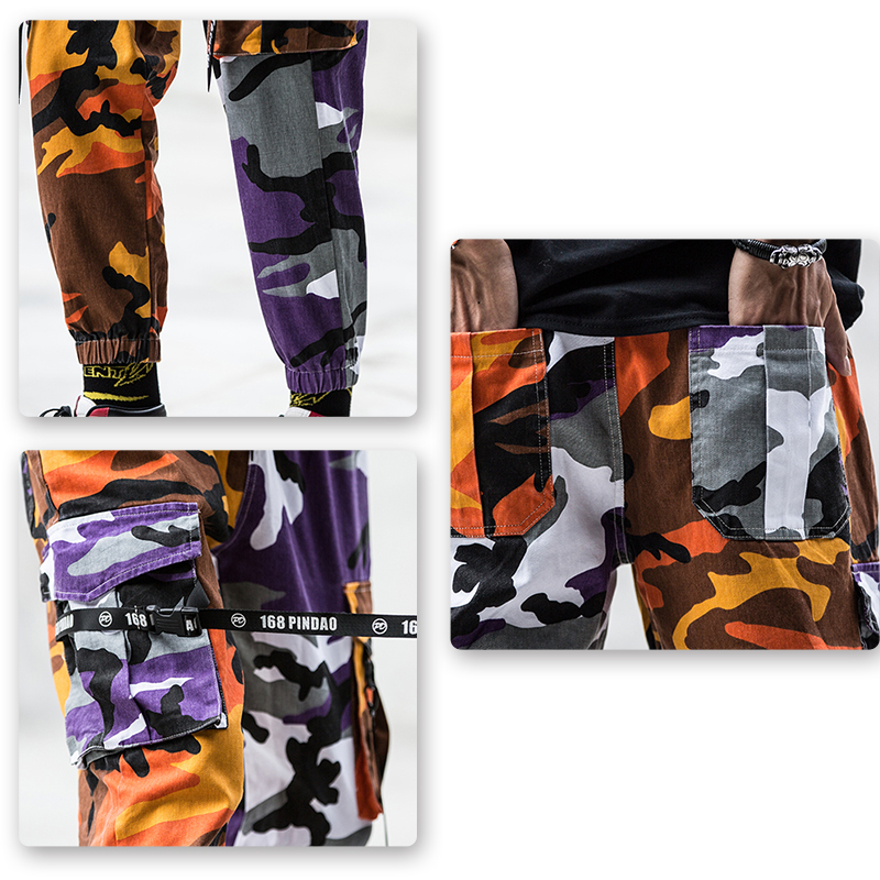 Camo Streetwear Mens Camouflage Splice Joggers Pants Hip Hop Trousers Cargo Pants Cotton Military Overalls Male