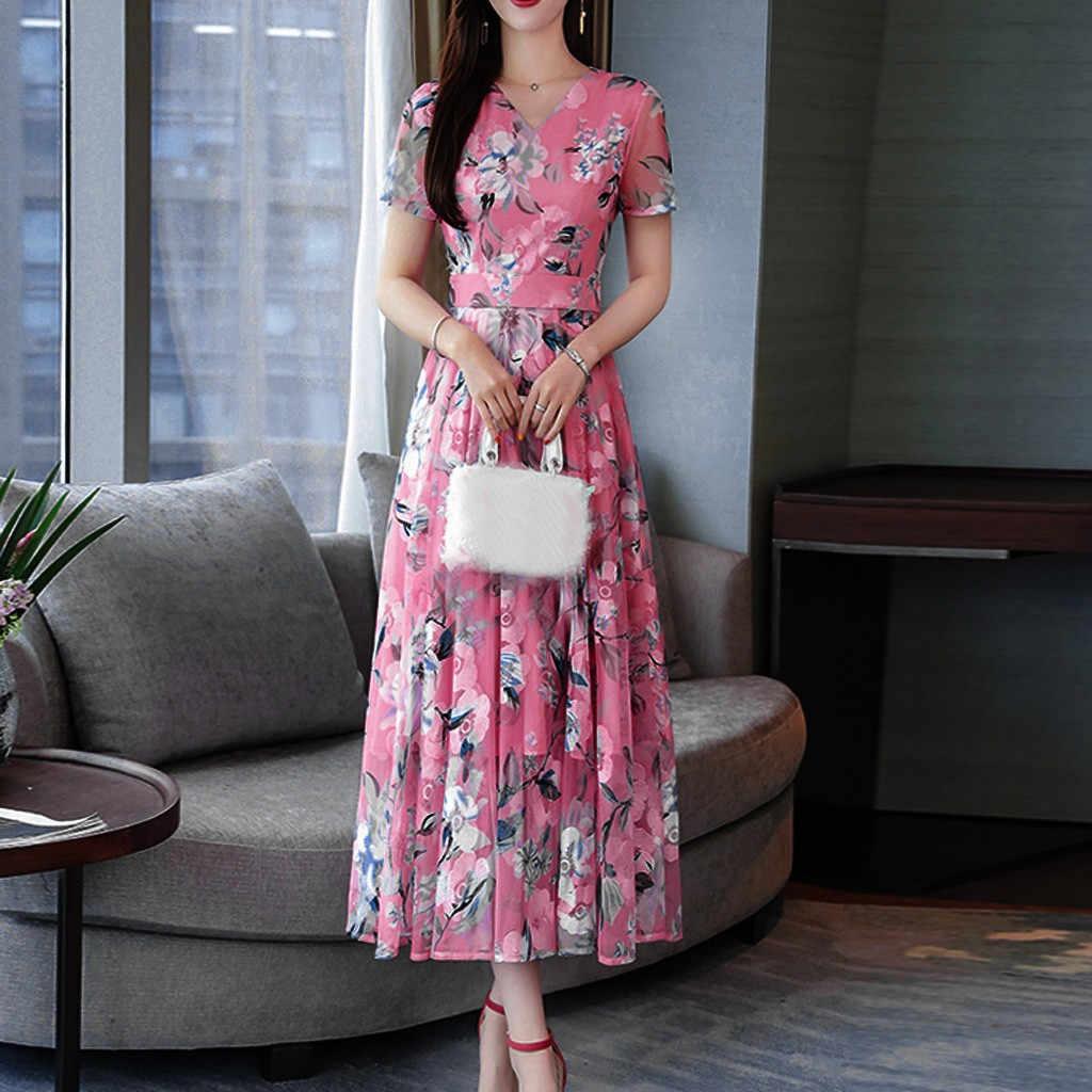 Plus Size Vestido de Verão 2019 Casual Floral Rosa Vestido Longo Mulheres Vestidos de Mulher Partido Noite Elegante Decote Em V Do Vintage Midi vestido