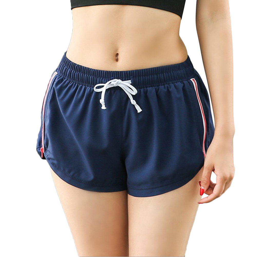 Women Side Zipper Breathable Yoga Wear Quick-drying Shorts Running Fitness Pants EDF88