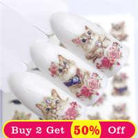 ZKO 1 PC chaud ongle autocollant leader noué chat/fleur beauté transfert d'eau estampage ongles Art conseils ongles décor manucure décalque
