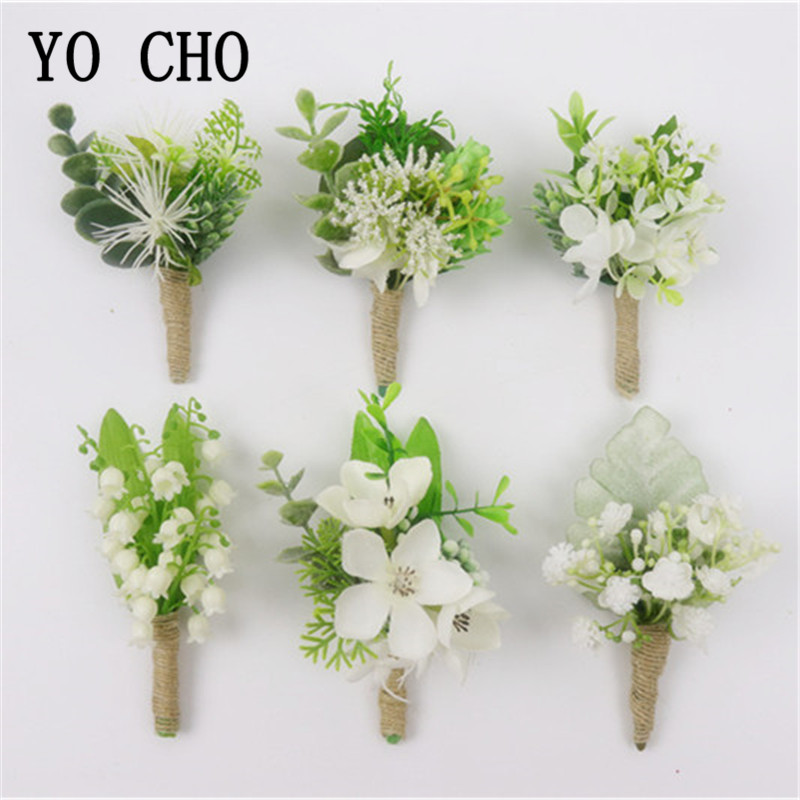YO CHO Men Wedding Boutonniere And Wrist Corsage Artificial Flower Orchid Lily Of The Valley Girl Bracelet Forest Style Corsages