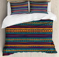 Tribal Duvet Cover Set Striped Retro Pattern with Rich Mexican Color Folkloric Print Decorative 3 Piece Bedding Set
