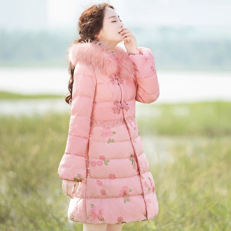 New winter women's elegant temperament cultivate morality show thin   down     coat   embroidered qian flow