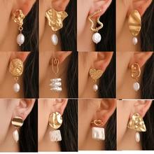 Korea Design Metal Gold Stud Earrings Baroque Irregular Circle Square Natural Freshwater Pearl for Women Girls Gifts