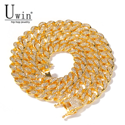 Uwin 13mm Cuban Miami Link Rhinestones Necklace Chain Full Bling Bling Punk Choker Bling Bling Charms Hiphop Jewelry