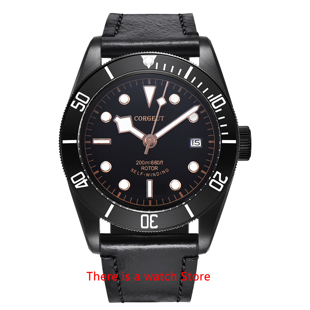 Corgeut 41mm Automatic Watch Men Military Black Dial Wristwatch Leather Strap Luminous Waterproof Sport Swim Mechanical Watch 9