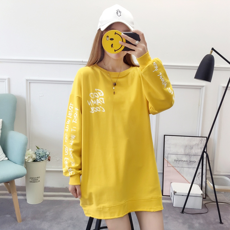 2019 autumn new Korean version of the XL T-shirt women's thin section long-sleeved loose hole wild T-shirt shirt women 64