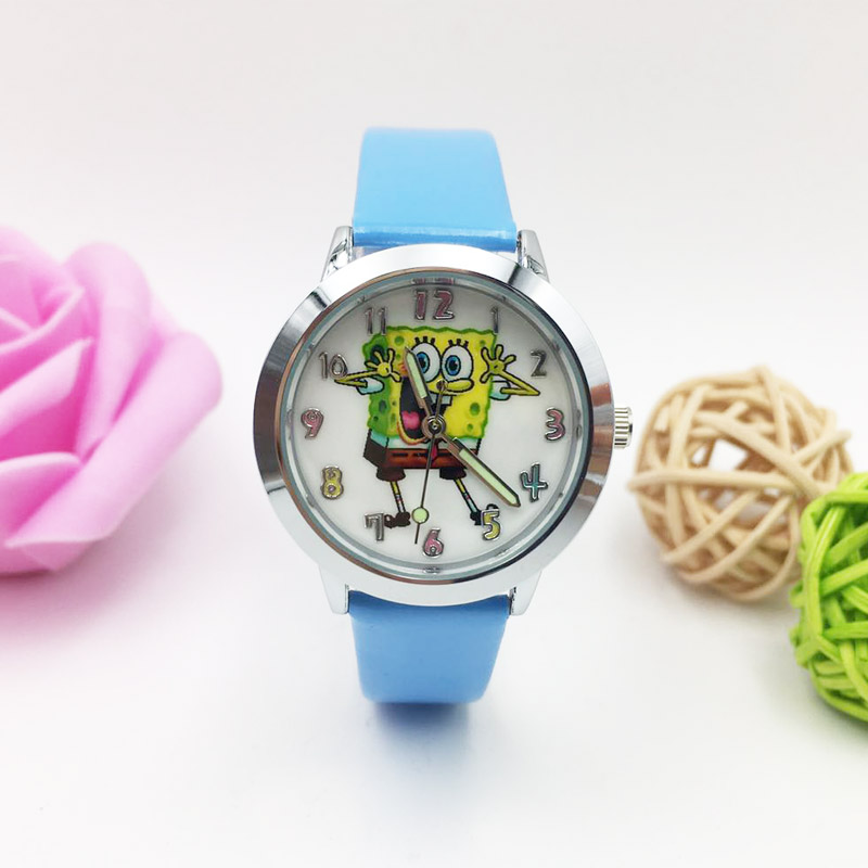 Classic Sponge Baby Pattern Children Quartz Watch Kids For Boys Luminous Wristwatch Student Waterproof Blue Leather Watches New