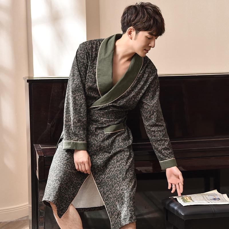 Kimono Robe Male 100% Cotton Housecoat Brand Quality Long Sleeve Fall Bath Robe Luxury Kimono Men Cotton Yukata Classy Bathrobes