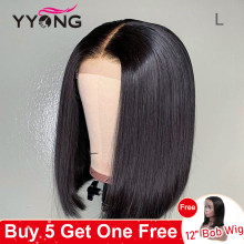 Yyong 13x4 Straight Short Bob Lace Front Wigs Brazilian Straight Lace Front Human Hair Bob Wigs With Baby Hair Remy 120% Density(China)