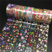 100m/roll Flower Nail Foils for Nails Transfer Paper Sticker Marble Floral Manicure Set