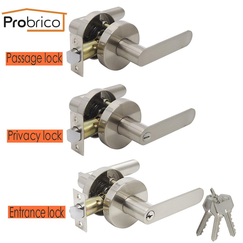 Probrico Interior Door Handles Solid Front Back Levers Latch Lock Cylinder Bathroom Bedroom Door Handles Security Entry Lock Set Set Brush Privacy Door Knobknob Stainless Aliexpress