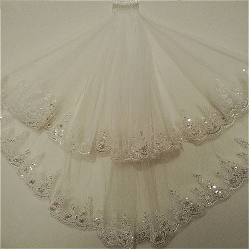 2020 Fashion Two Layer Bridal Veil White Ivory Tulle Wedding Veil With Comb Lace Edge Wedding Accessories Bridal Veils In Stock