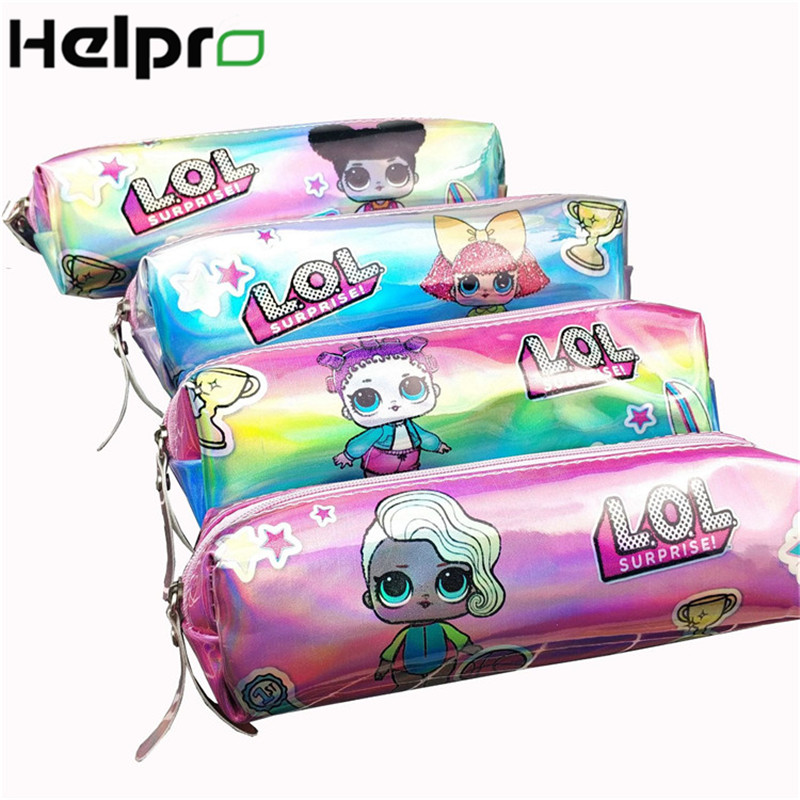 Helpro LOL Girl Laser Pencil Case Kawaii Quality PU School Supplies Stationery Gift Pencilcase Cute Pencil Bag