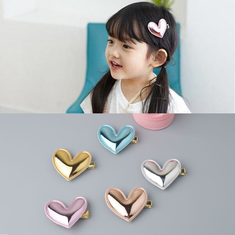 4Pcs Glitter PU Leather Heart Hair Clip Girl Hairpin Kid Birthday Party Barrette D08C
