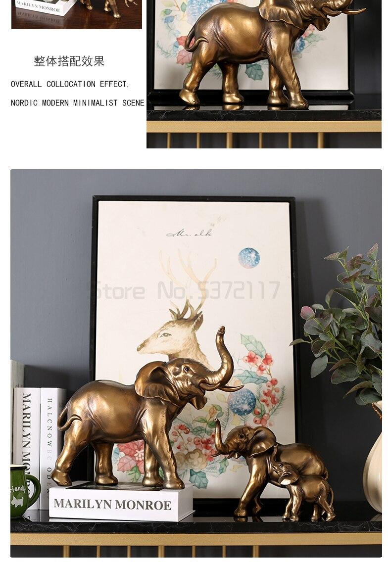 Moderna imitação de ouro cobre elefante escultura