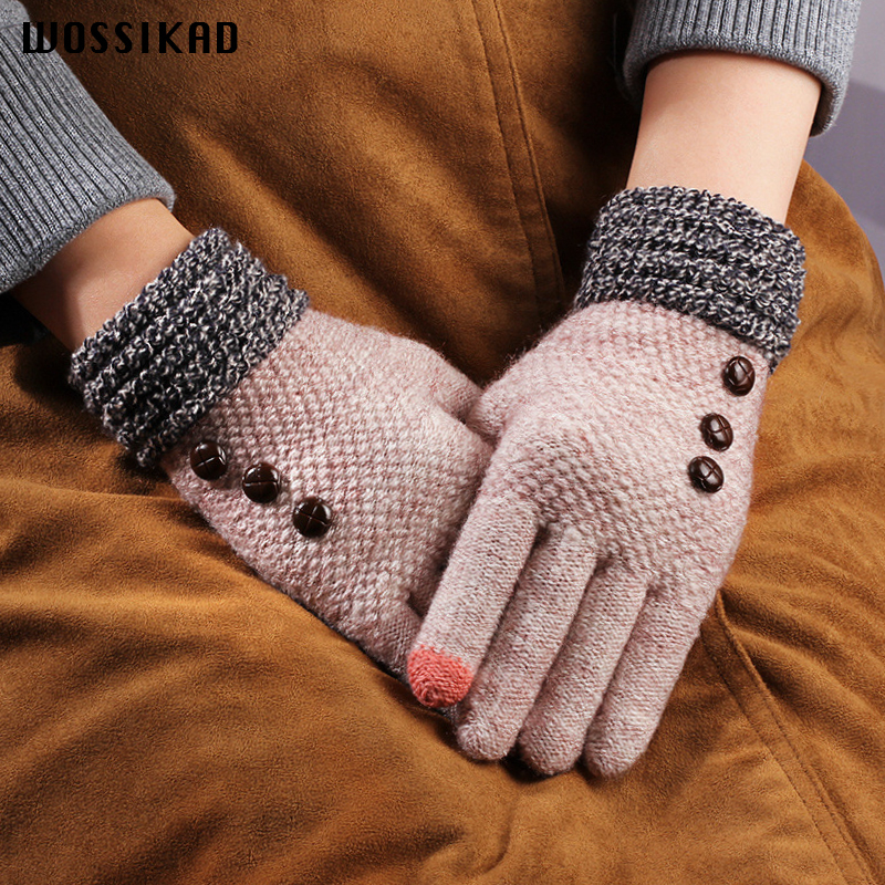 Glove Woman Winter Thickening Knitting Touch Screen Ride A Bike Five Fingers Outdoors Game Modis Couple Gloves Gants Femme