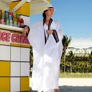 Image 5 - 2020 เซ็กซี่ดูผ่านปักยาวKimono CardiganสีขาวชีฟองPlusขนาดBeachwearผู้หญิงเสื้อและเสื้อN1038