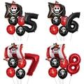 1 набор пиратский корабль воздушные шары с узором в горошек, с изображением черепа воздушный шар с гелием День рождения украшения душа ребен...