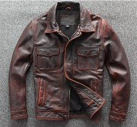 Retro to do the old red leather motorcycle jacket racing jacket black moto jacket Men's motorbike jacket Motorcycle clothing