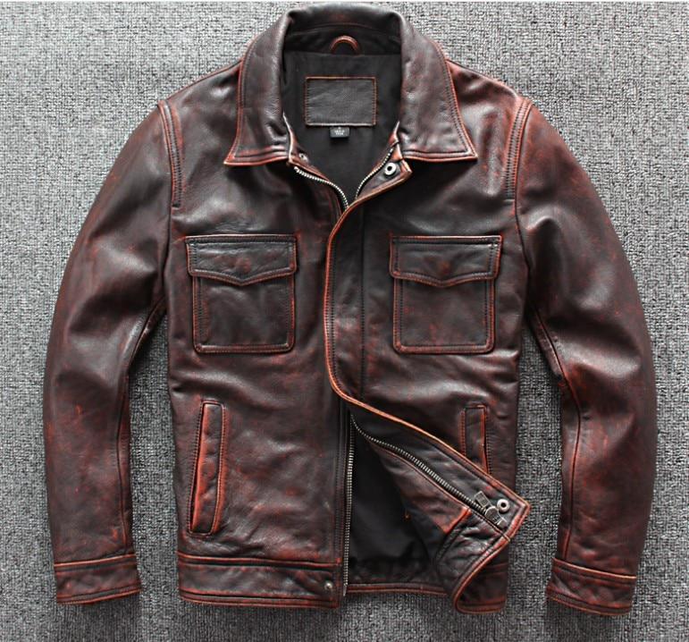 Retro To Do The Old Red Leather Motorcycle Jacket Racing Jacket Black Moto Jacket Men's Motorbike Jacket Motorcycle Clothing