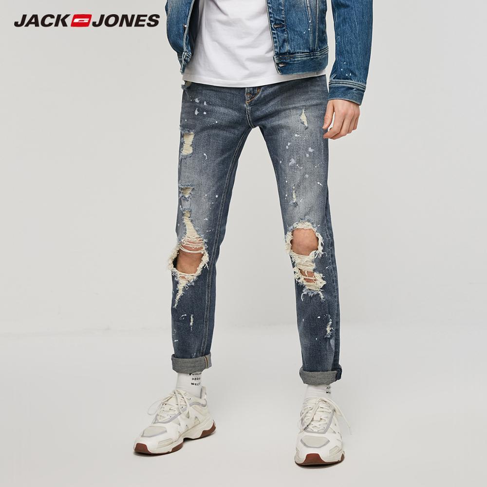 JackJones Men's Ripped Spray Paints Jeans| 219132598
