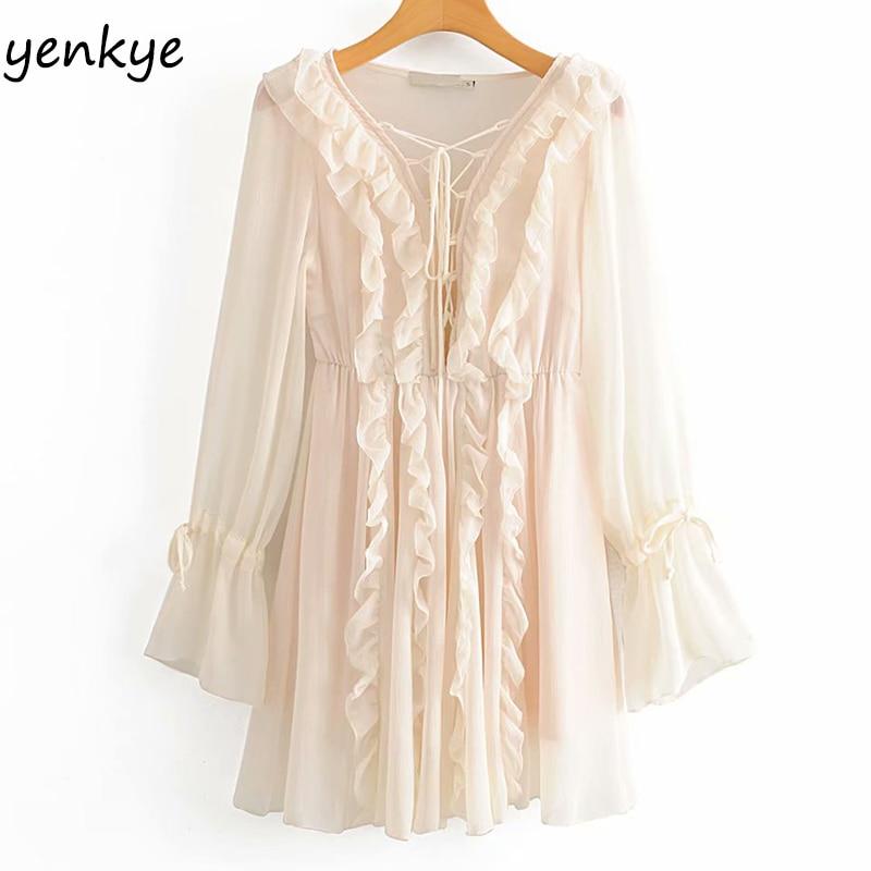 Sexy Semi-sheer Layered Ruffle Dress Women Long Sleeve Bandage V Neck A-line Mini Dress Summer Chiffon vestidos mujer  DWDD60307