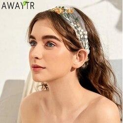 2020 nowych kobiet elegancki haftowany kwiat szyfonowa opaska Bandans słodka ozdoba do włosów Hairband Turban moda akcesoria do włosów